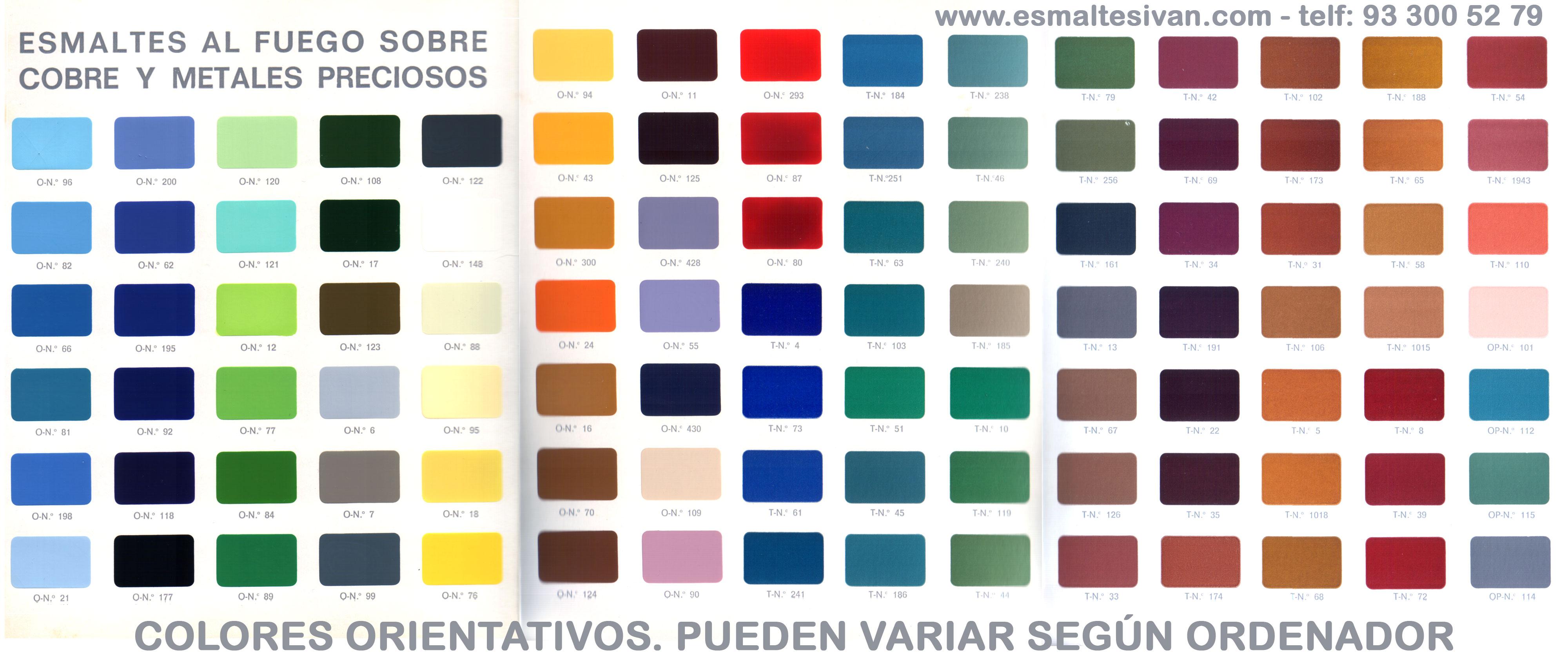 Esmaltes al fuego esmaltes ivan - Paleta de colores titanlux ...